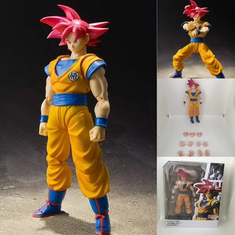 16CM Dragon Ball Z Son Gokou Super Saiyan God Red Hair Kakarotto DBZ Anime Akira Toriyama PVC Action Figure Model Toy L1180