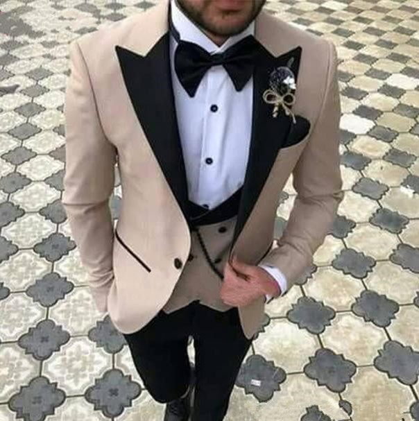 HTB1EP15XOLxK1Rjy0Ffq6zYdVXaL Pink With Black Lapel Suits for Men Custom Made Terno Slim Groom Custom 3 Piece Wedding Mens Suit Masculino(Jacket+Pant+Vest)