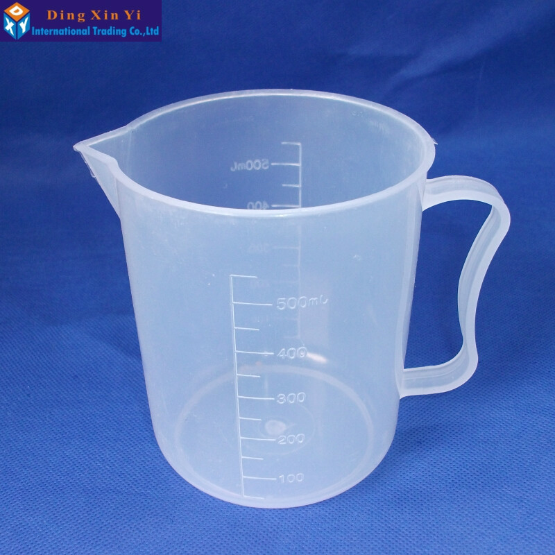 1PC  500ml Clear White Plastic lab Measuring Cup Beaker with handle for Lab Kitchen1PC  500ml Clear White Plastic lab Measuring Cup Beaker with handle for Lab Kitchen
