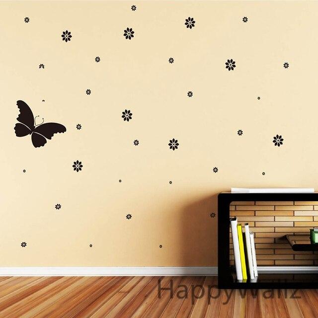 Butterfly Flower Wall Sticker Flowers Butterflies Wall Decal DIY ...