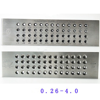 52 Hole Tungsten carbide draw plate ROUND 0.26 to 4.1mm NEW free shipping 20 holes tungsten carbide drawplates hole size 3 10 5 00mm triangle shape draw plate jewelery tools