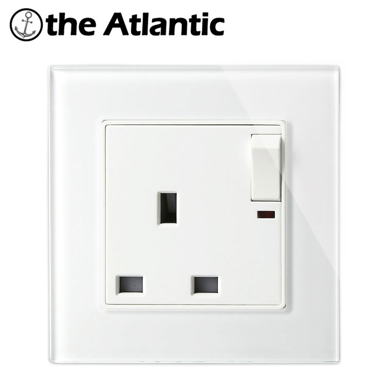 Atlantic Big sale 2 Color 13A UK Switched Socket Crystal Tempered Glass 1 Gang Push Button Switch and 13A UK Socket With Light 10a universal socket and 3 gang 1 way switch wallpad 146 86mm white crystal glass 3 push button switch and socket free shipping