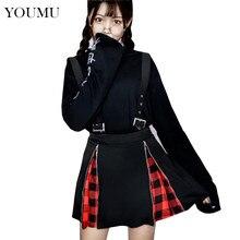 2c0d3a9dbe Mujeres Harajuku Punk Zip Suspender Plaid falda negro Sexy Mini A-Line  faldas cremallera gótico Streetwear estudiante 906-328