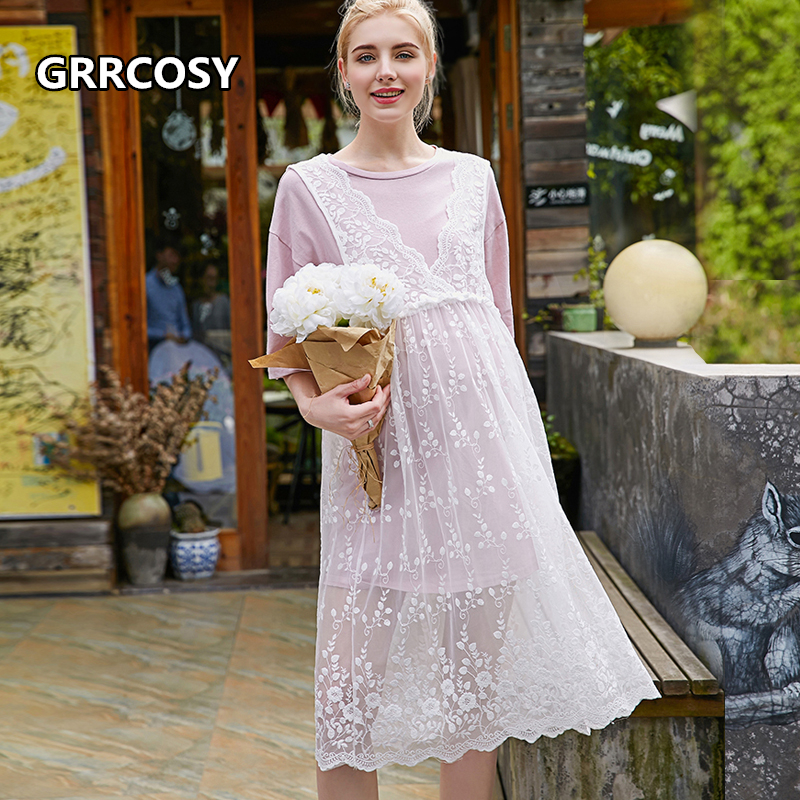 GRRCOSY Lace Maternity Dresses Hollow Two Sets Clothes Lace Sling T-shirt For Pregnant Women Lace Long Style Pregnancy Dress