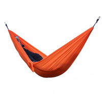Best 2 People Portable Parachute Hammock For Outdoor Camping Orange 270 140 Cm