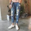 Biker Jeans Hombres de La Moda 2016 Nuevo Verano Delgado Ripped Jeans Tobillo Longitud Pantalones de Mezclilla Para Hombre Pantalones