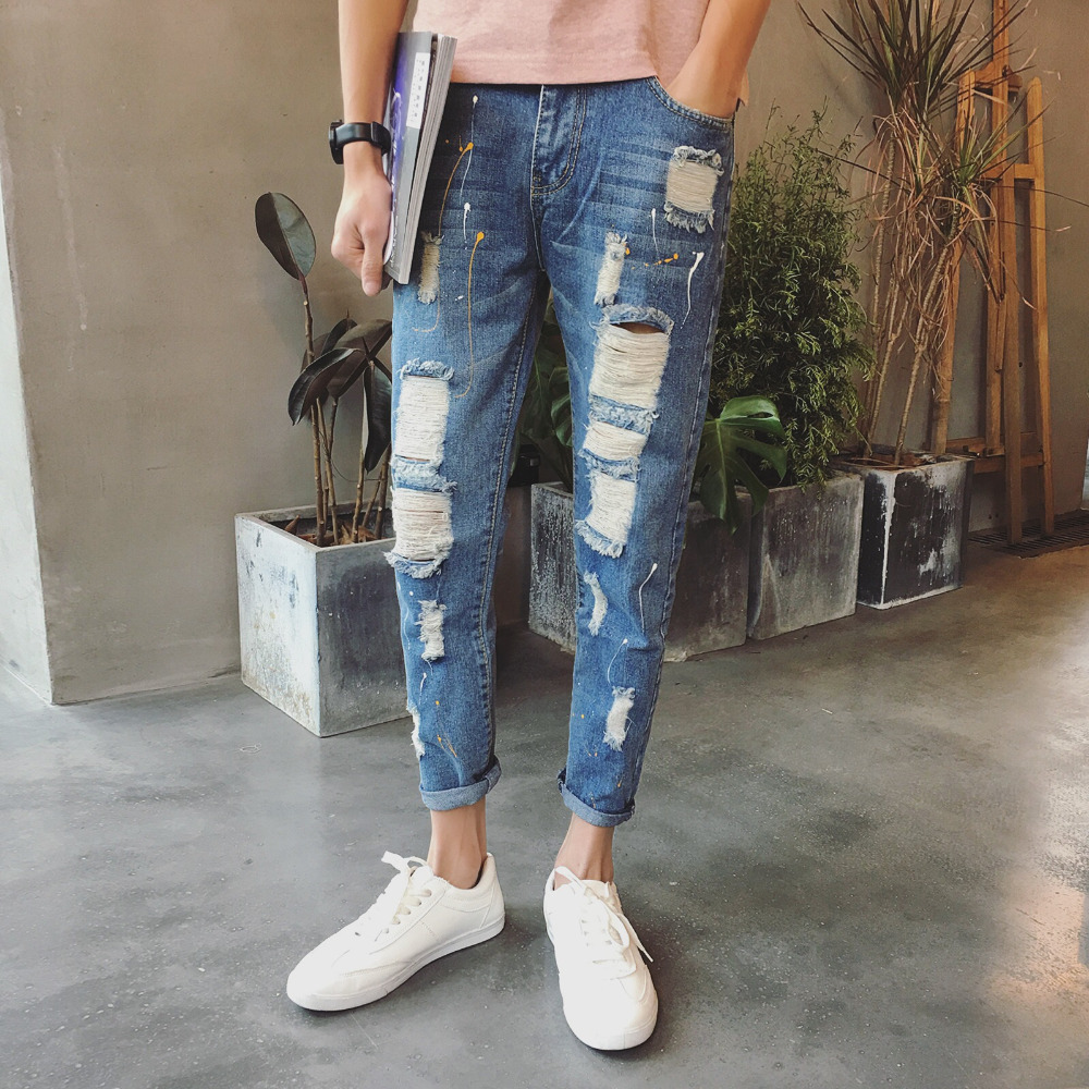 Biker Jeans Men Fashion 2017 New Summer Slim Ripped Jeans Ankle Length Mens Denim Pants Trousers 2017 fashion patch jeans men slim straight denim jeans ripped trousers new famous brand biker jeans logo mens zipper jeans 604
