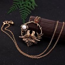 Pendant Necklace Jewelry-Accessories Flower Long-Chain Birds Vintage Fashion Women Loop-Alloy