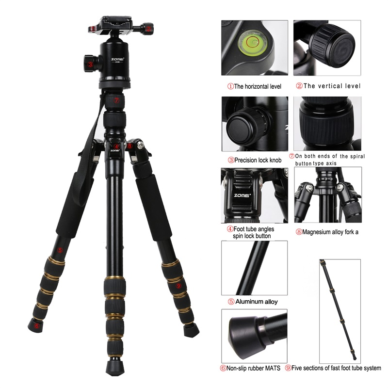 ZOMEI Z699 Travel Camera Tripod Magnesium Aluminum Alloy Monopod 360 degree Ball Head -3