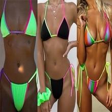 Phaixoneible New Swimsuit Bandage Swimwear Women Bikini Set Candy Color Bathing Suit Patchwork Beachwear Solid Halter стоимость