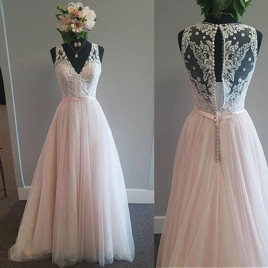 Modest Tulle V neck Neckline A Line Wedding Dress With Lace Appliques & Belt Pink Tulle Bridal Dress Reals-in Wedding Dresses from Weddings & Events