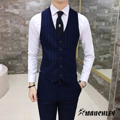 Mauchley The Korean Version Of The Classic Male Slim Stripe Vest Men's Slim Fit Waistcoat Male Suit Vest Social Clothes Wedding