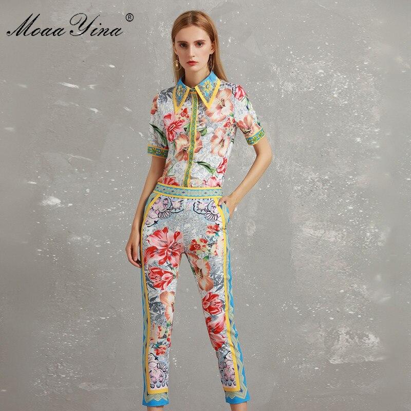 Moaayina Ensemble Mode Courtes Floral Imprimé Perles 3 Élégant 4 Multi Chemise Crayon Turn Pantalon Femmes Manches Automne Designer À down Collar rrE0xd1qw