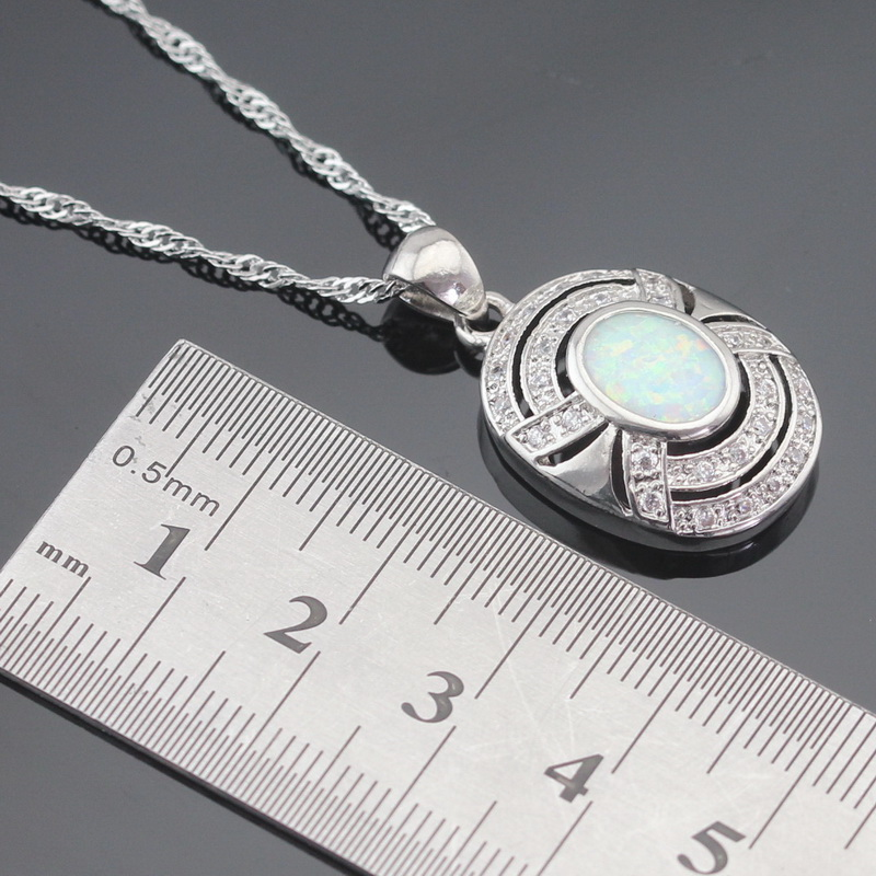 Australija Vatro bijela opal srebrna boja nakit setovi za žene - Modni nakit - Foto 3