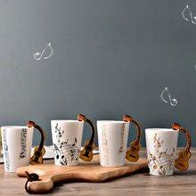 Guitar Ceramic Mug Cup Personality Music Note Milk Juice Lemon Coffee Tea Hot Drinking Home Office Drinkware