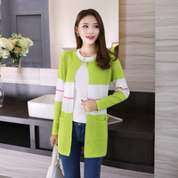 10 Colors Women Knitted Striped Patchwork Cardigan Sweater Autumn Ladies Casual Crochet Cardigans Sweaters Femme Outfit