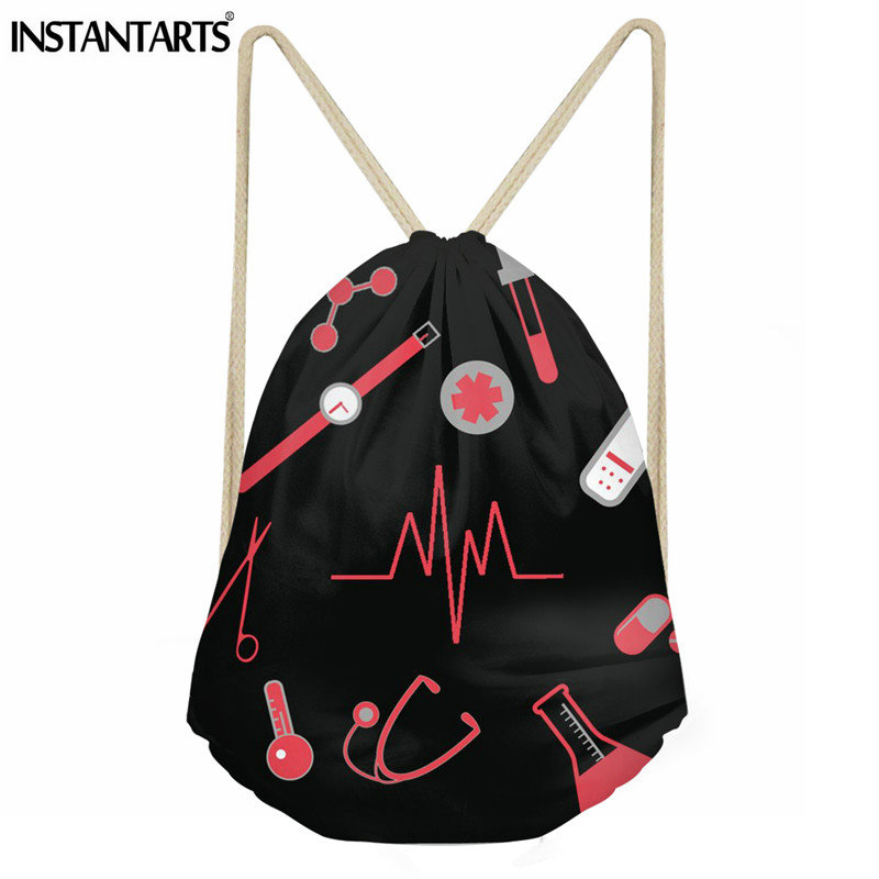 INSTANTARTS Nurse Heartbeat Pattern Women String Backpack Casual Small Drawstring Bag Travel Shoes Storage Bag School Bag Kids