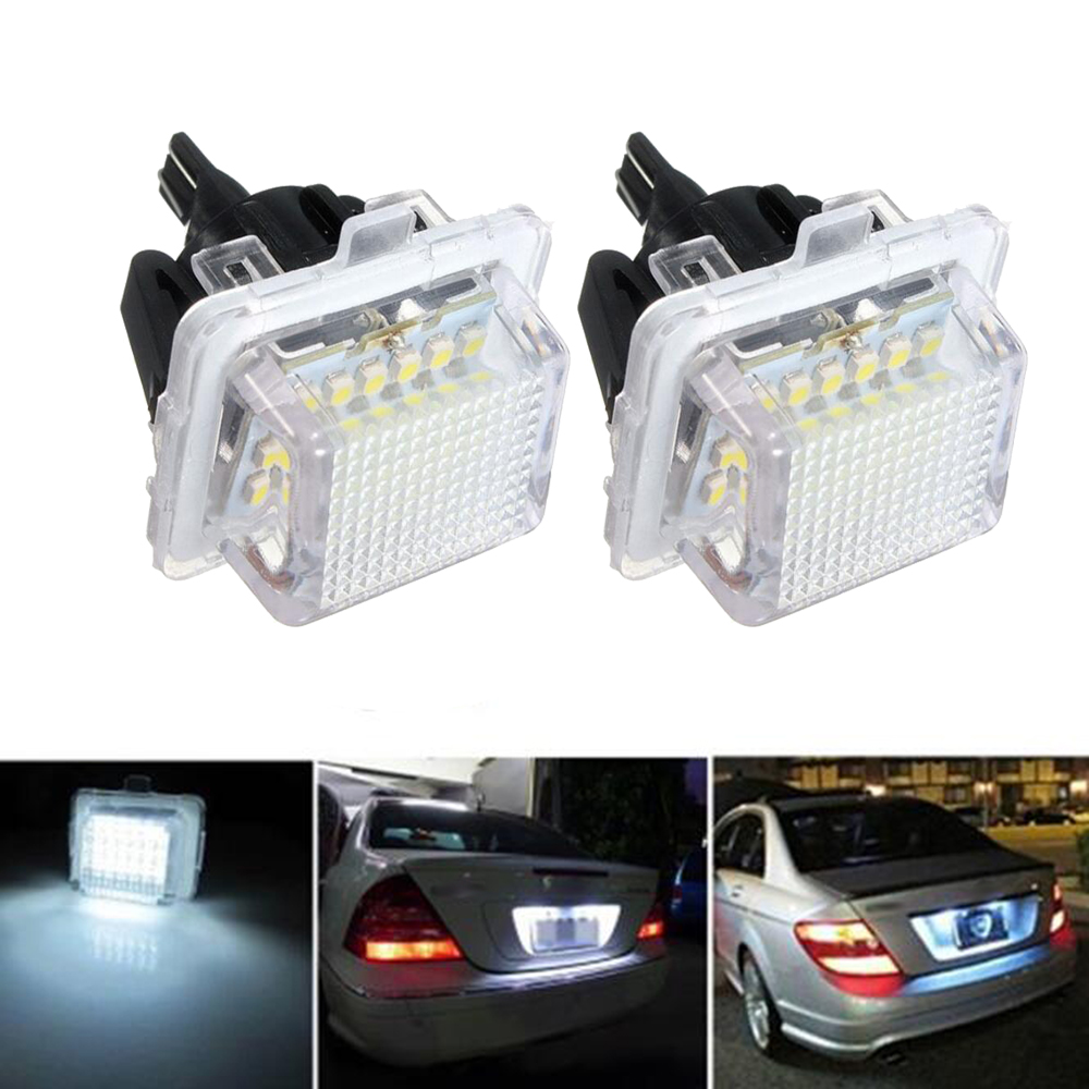 2*For Mercedes Benz White LED License Plate Light Error Free W221 W216 W212 W204