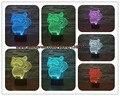 Nuevo 2017 Regalo del Día de Los Niños Del Gato Lindo de la muchacha 3D Precioso Kawaii mapache Toque Lámpara de Escritorio lámpara de 7 LED Que Cambia de Color Mood Night luces