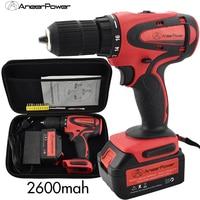 21V New Power Tools Electric 2600mah Batter Cordless Screwdriver Tool Drill Rotary Cordless Hand Wireless Machine Drill Bit Set