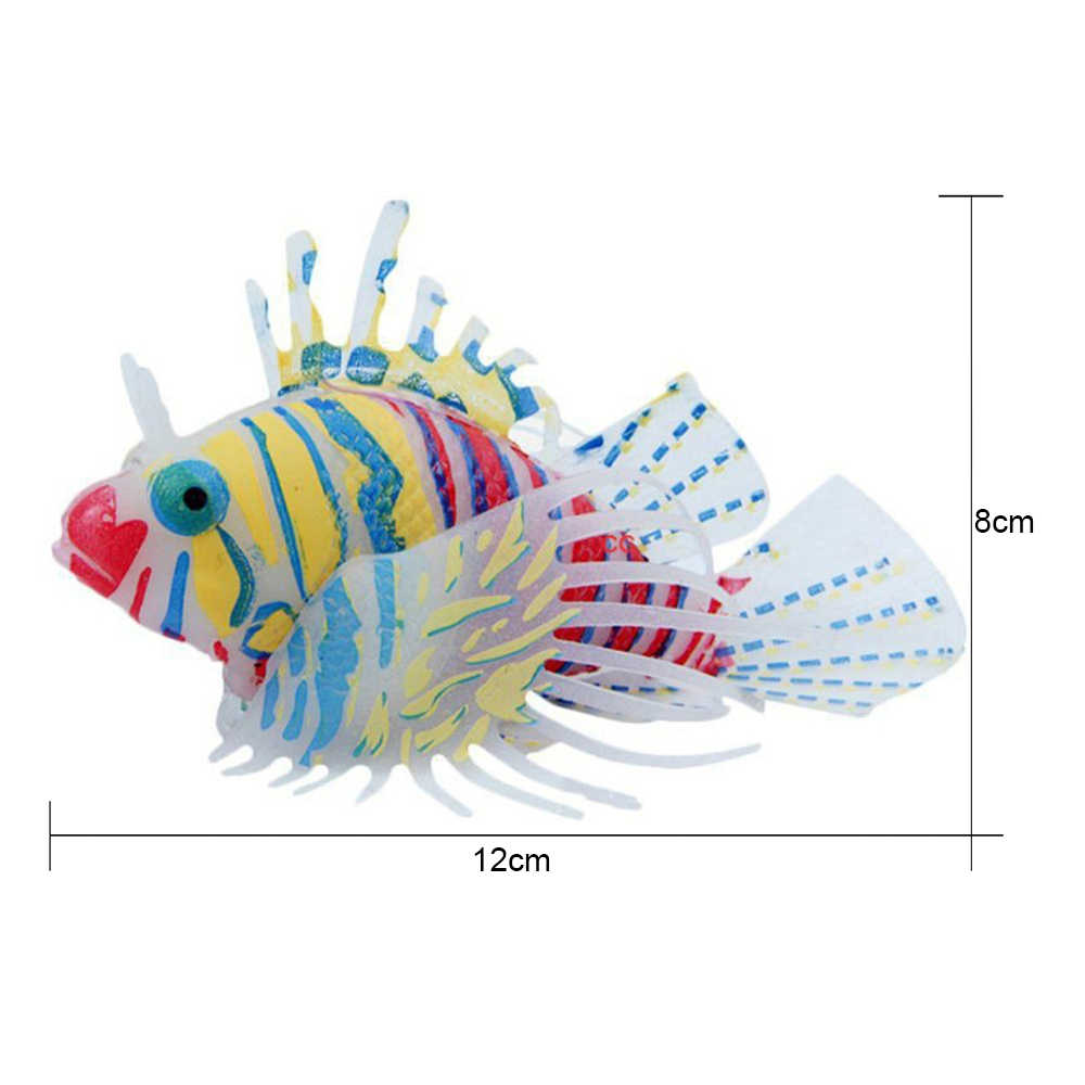 Glow In Dark Artificial Aquarium Lionfish Ornament Luminous Fishes Tank Jellyfish Decor Creative New Year Gift For Children Kids