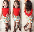 2016 Summer Kids Baby Girls Ruffled Tops+Floral Mini Skirts 2pcs Set Outfit 1-7Y girls clothing sets baby girl clothes tracksuit