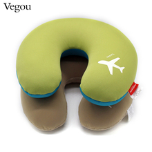 Vegou Marca 2017 Microperlas cuello en Forma de U Almohada almohadas de viaje de Avión coche kissen espuma de almohada de cuerpo Lindo Cuerpo/cuello/Almohada Dormir