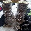 Frete grátis strass sapatos de Bebê chupeta Menina handmade Bling diamante Primeiro Walkers macio 100% lã Criança botas de neve de inverno