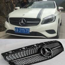 W176 Diamonds Matt Black Car Front Bumper Grill Grille for Mercedes-Benz W176 2013-2016