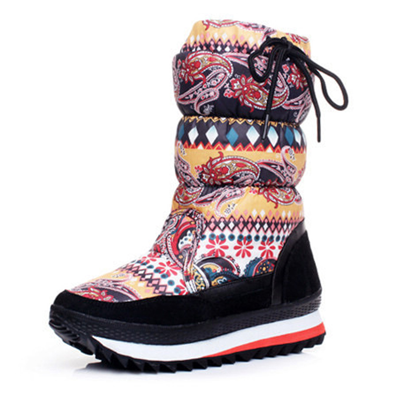 Women boots 2017 new arrivals platform snow boots Mid-Calf plush waterproof no-slip women winter shoes for - 30 degrees double buckle cross straps mid calf boots