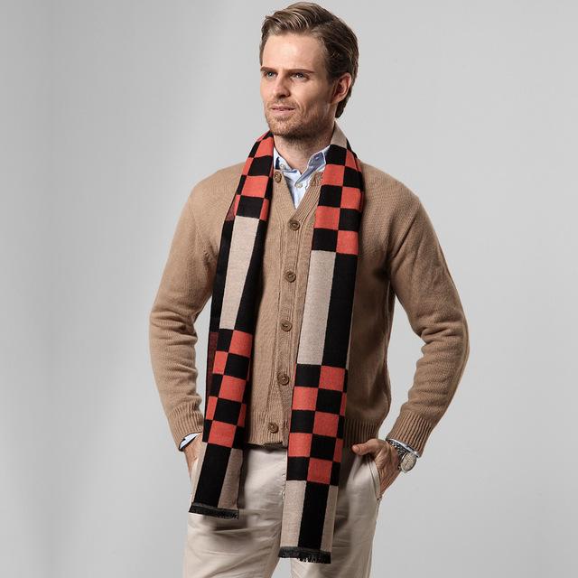 Regalo de navidad 2016 otoño invierno hombre causal caliente gruesa bufanda de cachemira mezclado hombres plaid bufandas Chales de moda de negocios