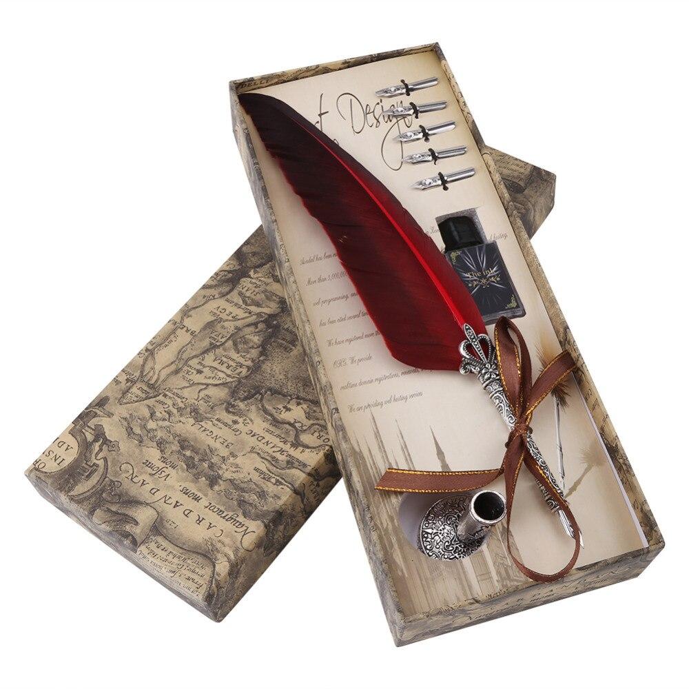 1 Set Anglais Calligraphie Plume Dip Pen Ink Écriture Ensemble Papeterie Cadeau boîte avec 5 Nib Cadeau De Mariage Plume Stylo Fontaine Stylo Nouveau
