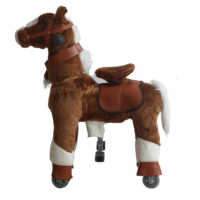 Plush Mechanical Horse with White Hoof Walking Animal Riding for Race Game Small Size Ride-On Horse Toys for Aged 3-8 Years Kids