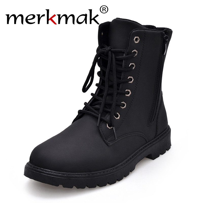 Merkmak Tactical Waterproof Winter Warm Snow Boots Men Vintage Leather Motorcycle Ankle Martin High Cut Male Casual Ankle Boots qiyhong brand waterproof winter warm snow boots men cow split leather motorcycle ankle fashion high cut male casual clearance