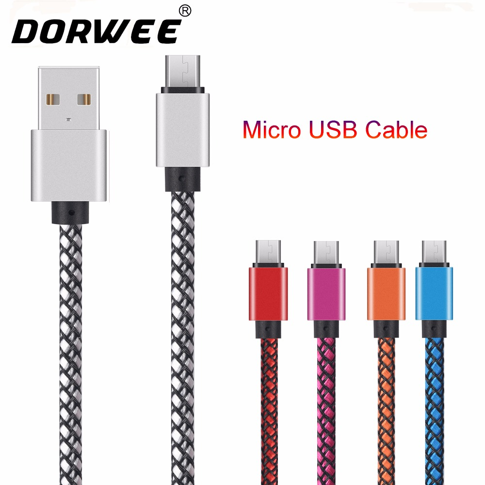 DORWEE Nylon Micro USB Cable 2A Fast USB Charging Cord Data Cable for Samsung Huawei Tablet Android Microusb Charger Cable Wire
