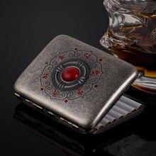 Alta calidad de bronce budismo caja de cigarrillo para 16 unids Metal clásico caja de cigarrillos con caja de regalo Cigarette herramientas