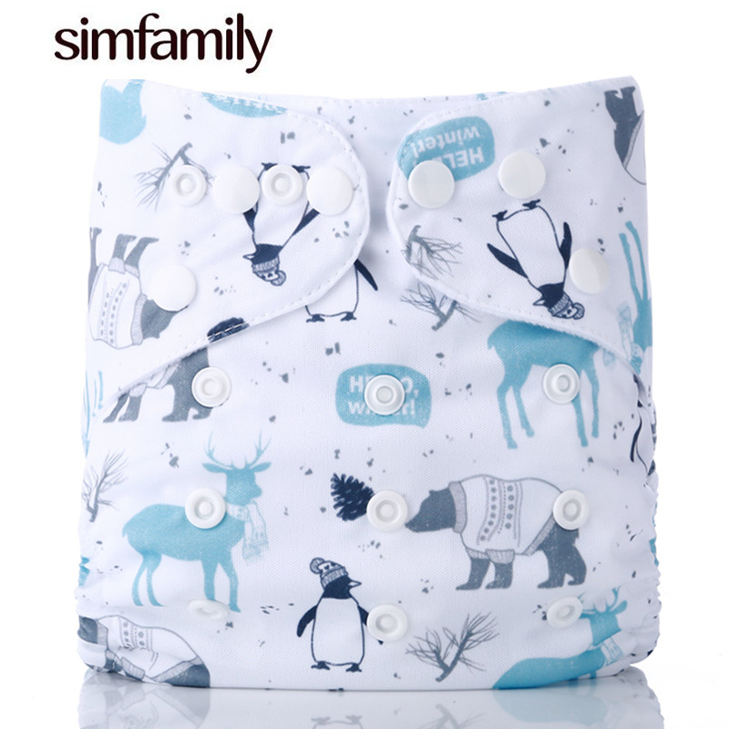 [simfamily]1PC Reusable Waterproof digital printed baby Cloth Diaper One Size Pocket baby nappies wholesale price fit for 3-15kg(China)