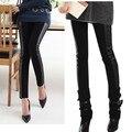 Negro de La Cintura Elástico Look Rayas Patchwork de Cuero Legging Flaco Pantalones Lápiz Pantalones