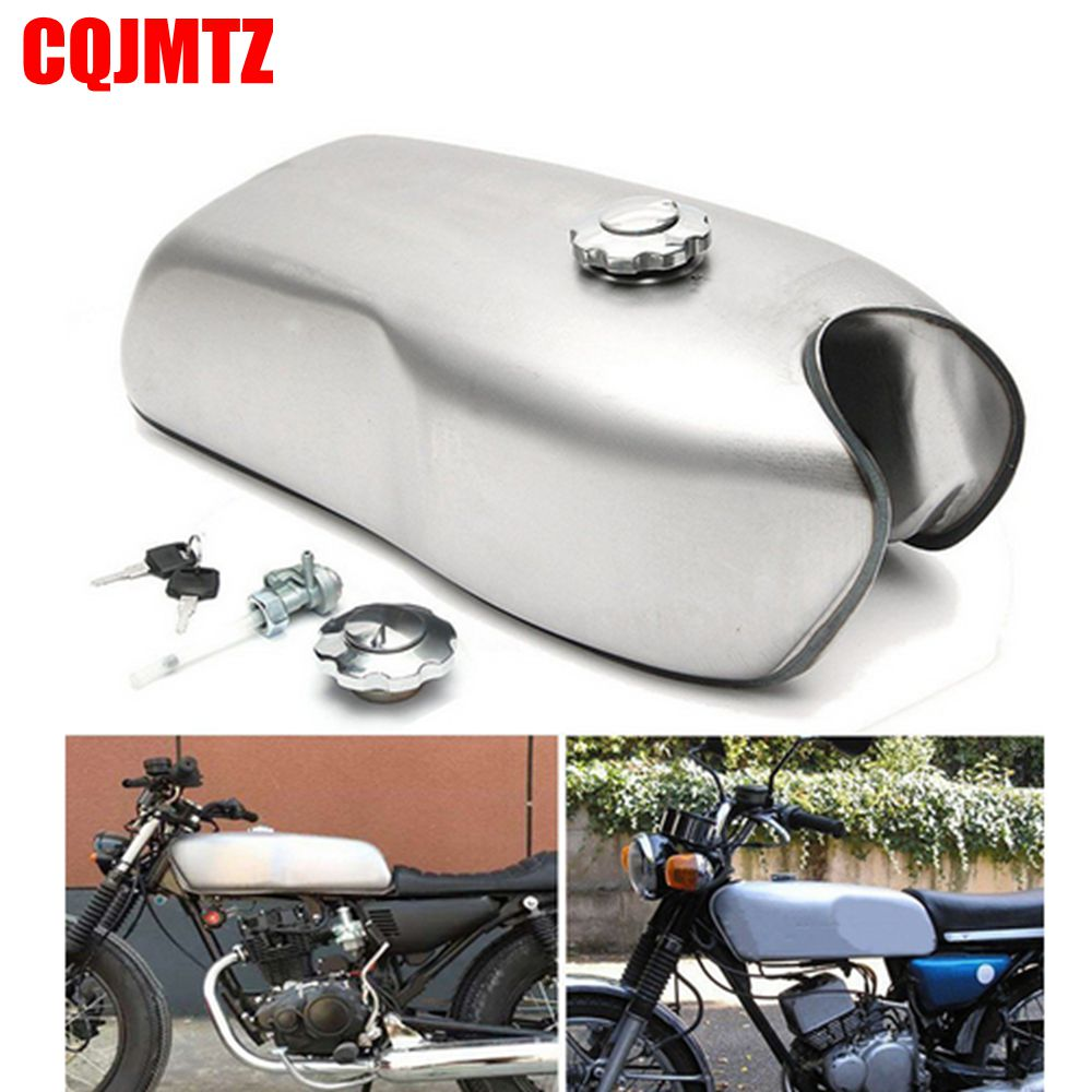 Motorcycle Vintage 9L Fuel Gas Tank with Thick Iron Cap Switch For Honda CG125 CG125S CG250 Cafe Racer New Plaint Silver 1pcs refires vintage motorcycle fuel tank lock fuel tank cover motorcycle fuel tank cap for cg125
