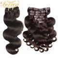 #2 brown clip en la extensión del pelo humano 8a queen hair clip en el Cuerpo Humano Ondulado 160G Grueso Brasileño de la Virgen del Clip En El Pelo extensiones