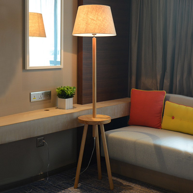 American solid wood floor lamp room bedroom bedside floor lamps in simple vertical style hotel room lamp bedside lamp lights nordic modern floor lamp living room lamp room bedroom bedside decorative cloth hotel new wood floor lamps mz10