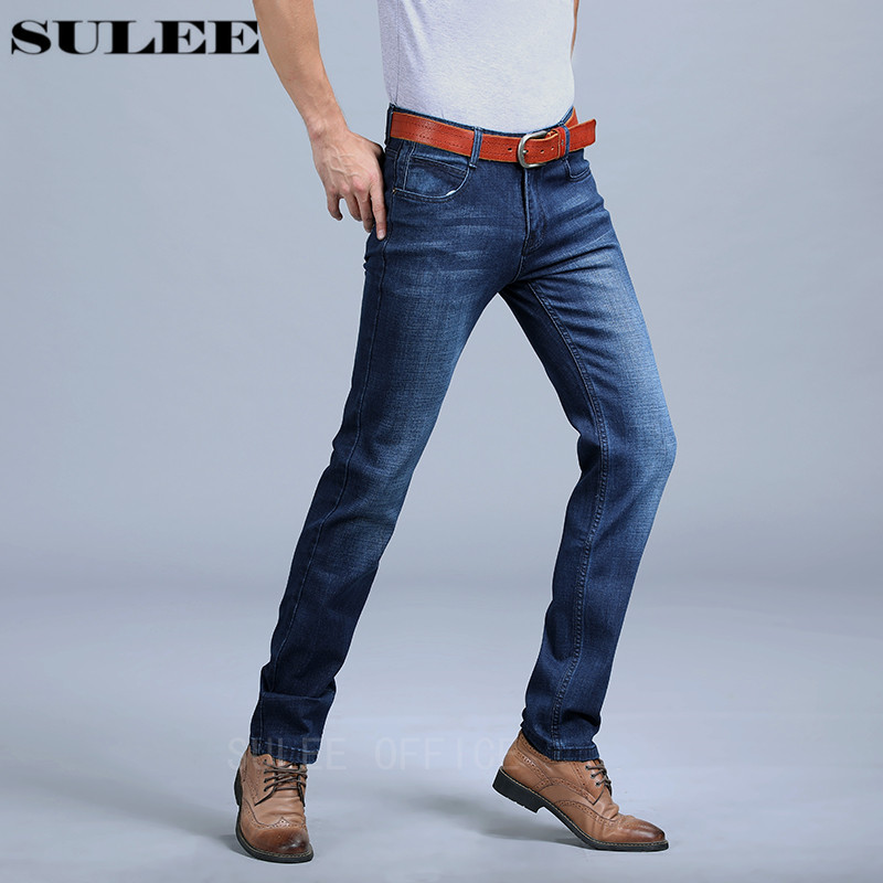 SULEE Brand Men's Jeans With Stretch Fashion Dark Blue Denim Brand Men Slim Fit Jeans Size 30 32 34 35 36 38 40 Pants Jean all seasons famous brand jeans men straight denim classic blue jeans pants regular fit high quality plus size 28 to 40 sulee
