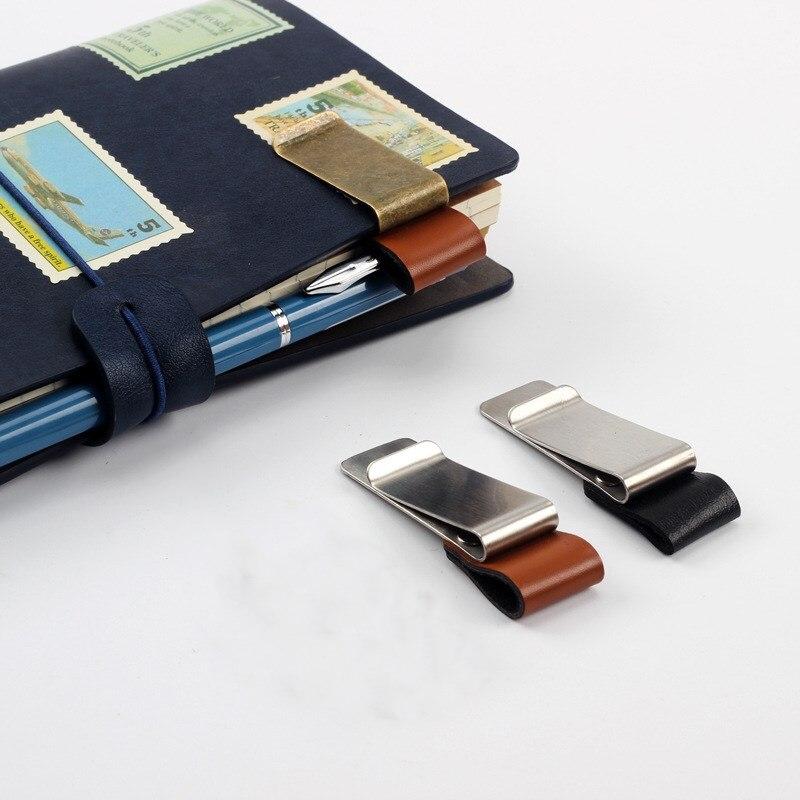 1pc Metal Leather Pen Clip Pencil Clip Vintage Dairy Notebook Pen Holder Memo Clip Office School Supplies
