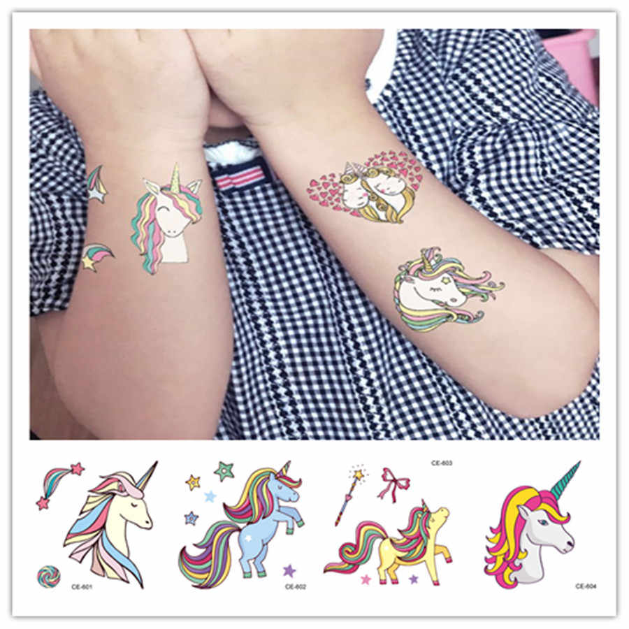 HOT Colorful Cartoon Unicorn Temporary Tattoo Sticker Women Minimalist Line Pattern Body Art Design Waterproof Temporary Tattoos