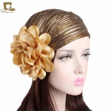 New Women Luxury Flower Ruffle Metallic Turban Headband Chemo Hat Beanie Headscarf Headwrap Lady Turbante