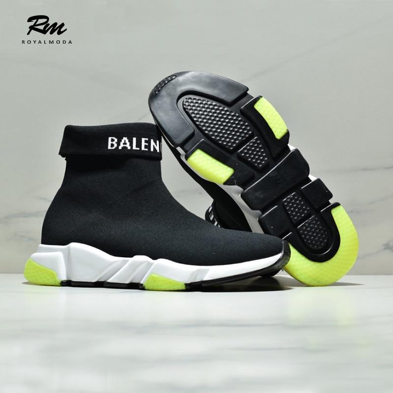 2019 excellet qualité femmes et chaussures pour homme BAL vitesse stretch-knit mid chaussures minimalistes décontracté tailles des chaussures EU36 EU39 EU44