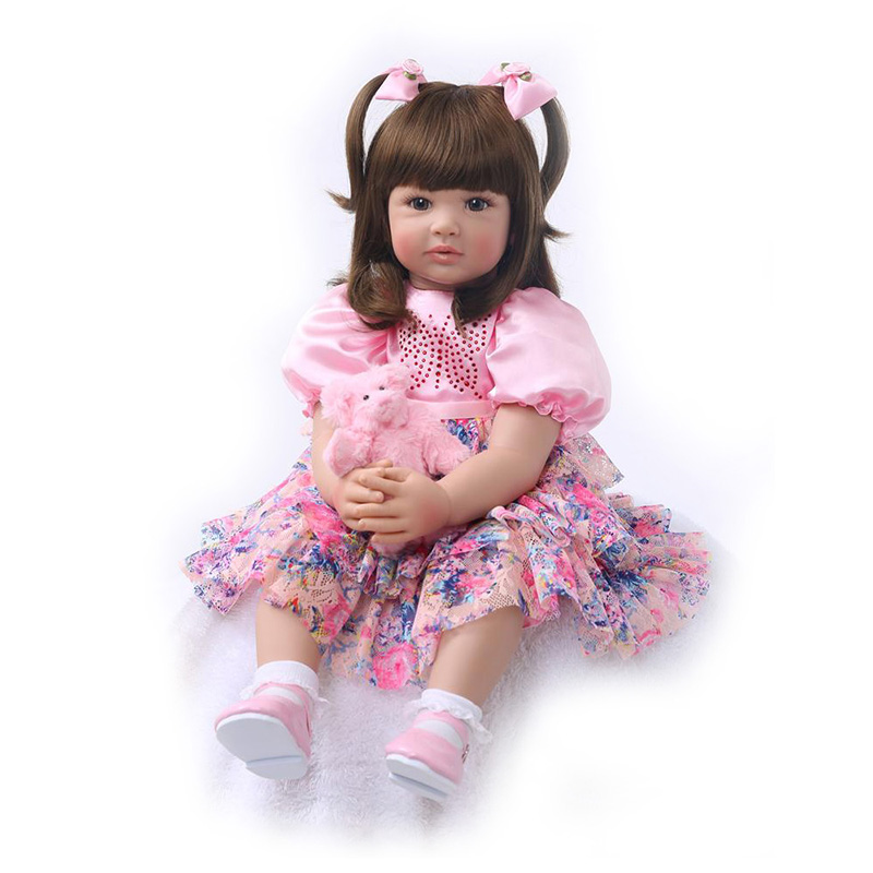 55cm Real Girls Baby Doll Realistic Soft Silicone Newborn Princess Doll Handmade Alive Vinyl Bebe Reborn