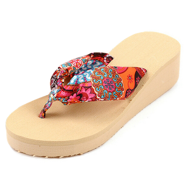3ba3d2b712c440 ABDB Summer Bohemia Flower Women Flip Flops Platform Wedges Women Sandals  platform Flip Slippers Beach Shoes