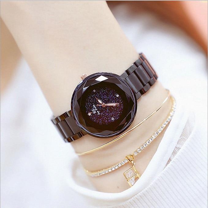 все цены на Luxury Starry Sky Dial Crystal Women Watches Quartz Girl Watch Ladies charm Business Dress Watch Zegarek Damski Waterproof Watch онлайн