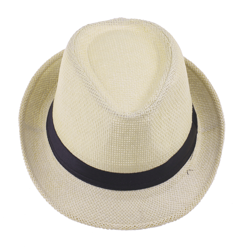 d35f94769a2 2016 Fashion Summer Fedora Hats for Women Men Jazz Caps Panama Trilby  Gangster Cap Beach Straw Hat with Ribbow Band Sunhat-in Fedoras from Apparel  ...